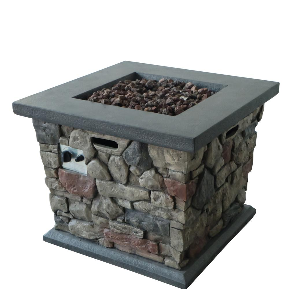 Noble House Tatum 30 in. x 24 in. Square MGO Propane Fire Pit in Stone