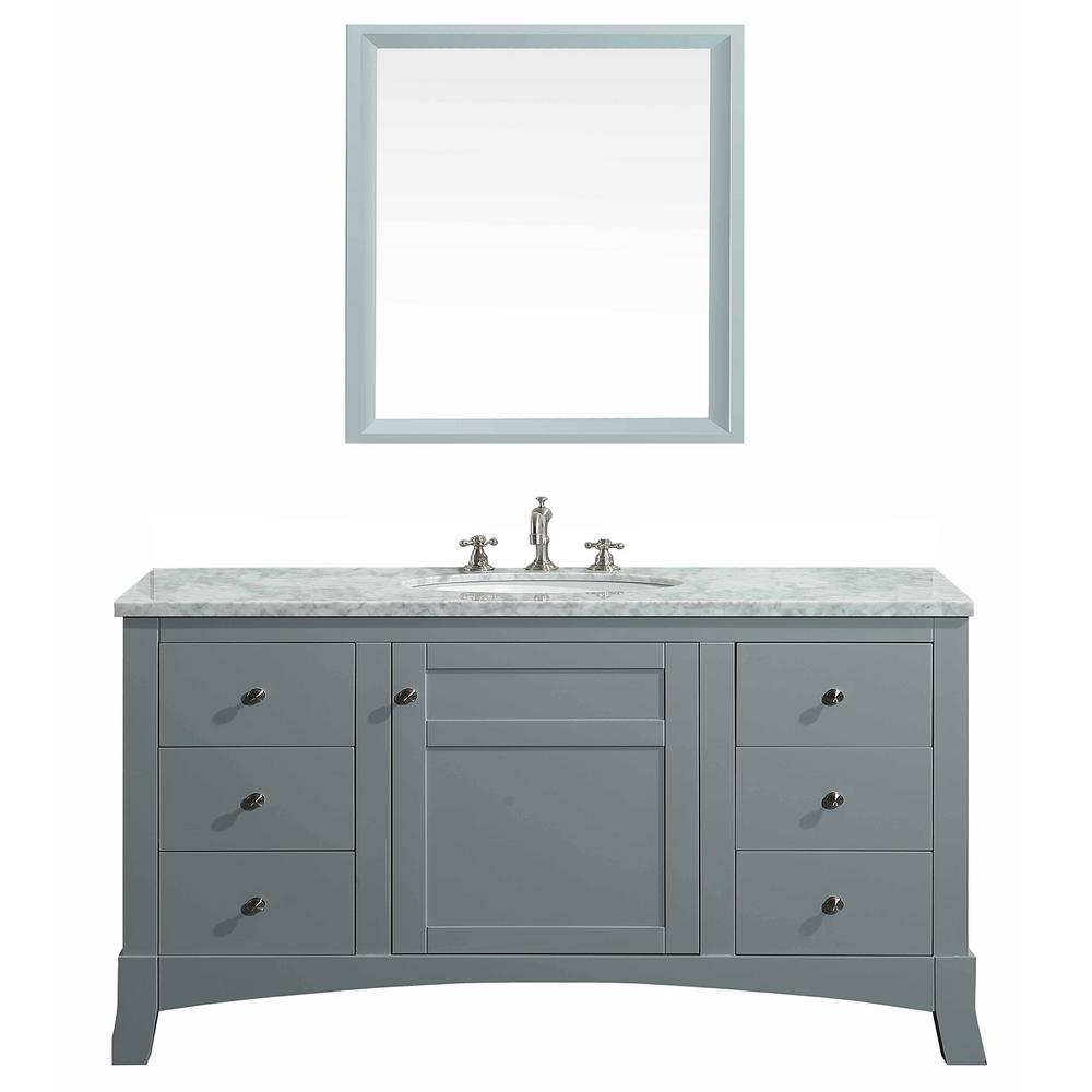 Eviva New York 48 In W X 22 D 34 H Vanity Grey With Carrara Marble Top White Basin