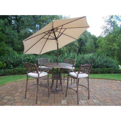 Elite Cast Aluminum 7-Piece Round Patio Bar Height Dining Set with Oatmeal Cushions and Umbrella