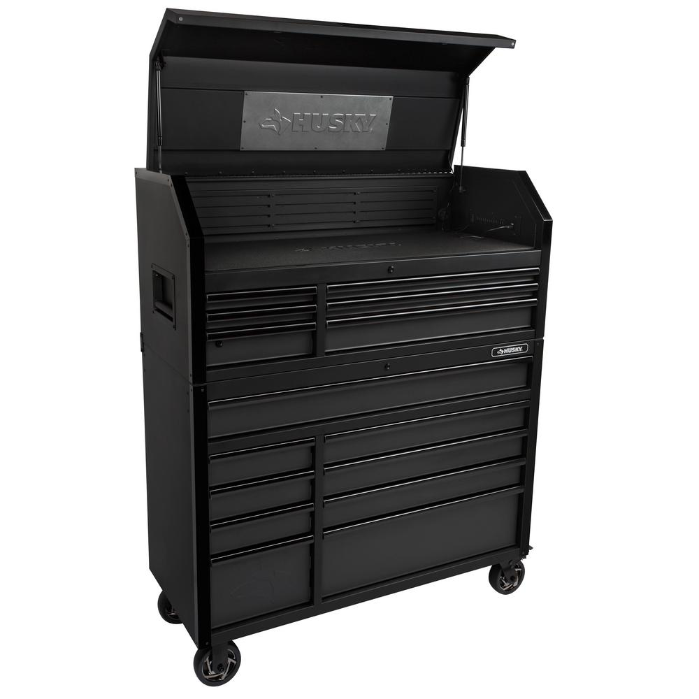 Husky Industrial 52 in. W x 21.5 in. D 15-Drawer Tool Chest and Rolling Cabinet Combo with LED Light in Matte Black