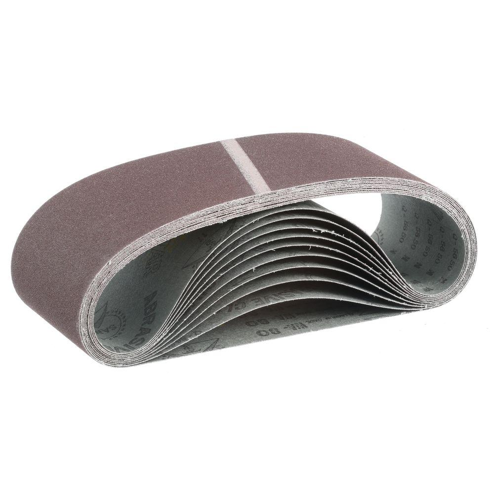 """Makita 4 in. x 24 in. 80-Grit Abrasive Belt (10-Pack) for use with 4"""" x 24"""" Belt Sanders"""