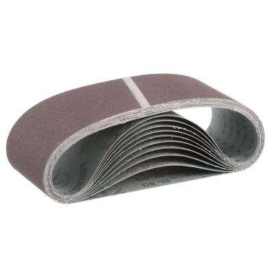 "4 in. x 24 in. 80-Grit Abrasive Belt (10-Pack) for use with 4"" x 24"" Belt Sanders"