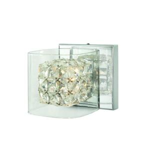 Home Decorators Collection Crystal Cube 1 Light Polished Chrome Vanity Light With Clear Glass