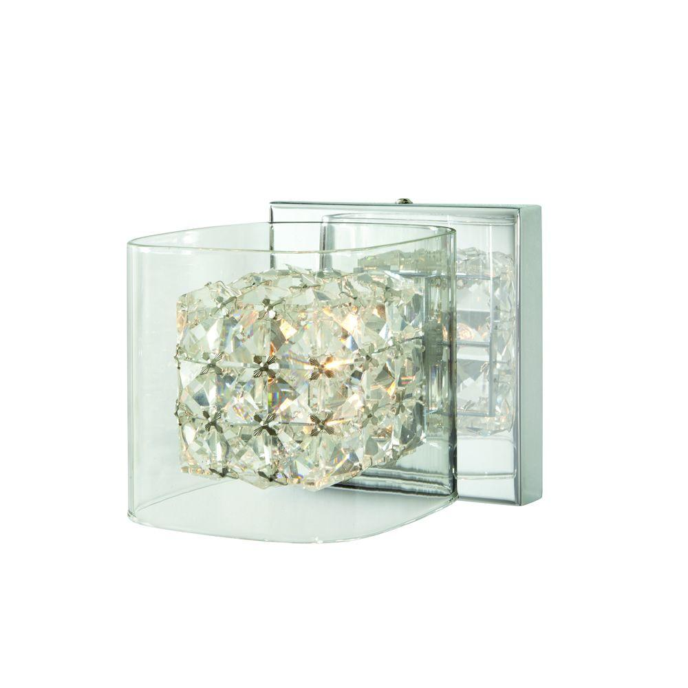 Crystal Cube 1-Light Polished Chrome Vanity Light with Clear Glass Shades