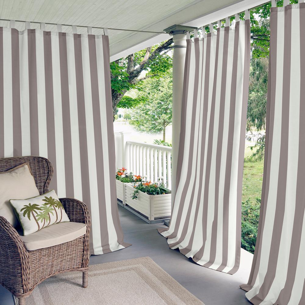 Highland Stripe 50 in. W x 95 in. L Indoor/Outdoor Tab Top Window Curtain Grey