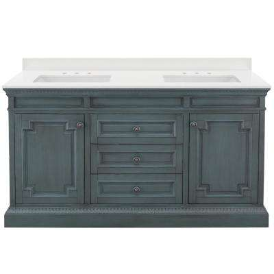 Cailla 61 in. W Bath Vanity in Distressed Blue Fog with Engineered Marble Vanity Top in Winter White with White Sinks