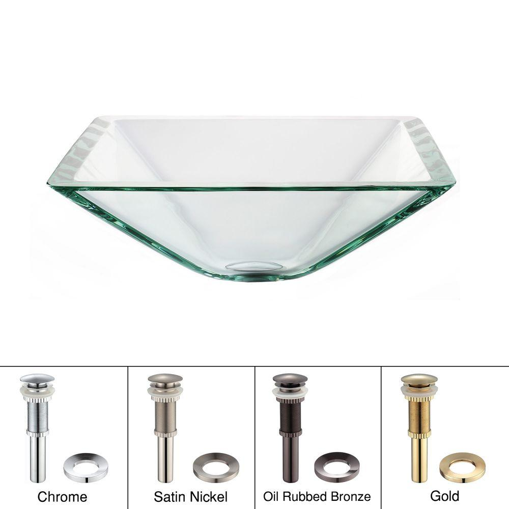 Kraus Square Glass Vessel Sink In Clear With Pop Up Drain And