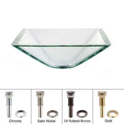 Square Glass Vessel Sink in Clear with Pop-Up Drain and Mounting Ring in Satin Nickel