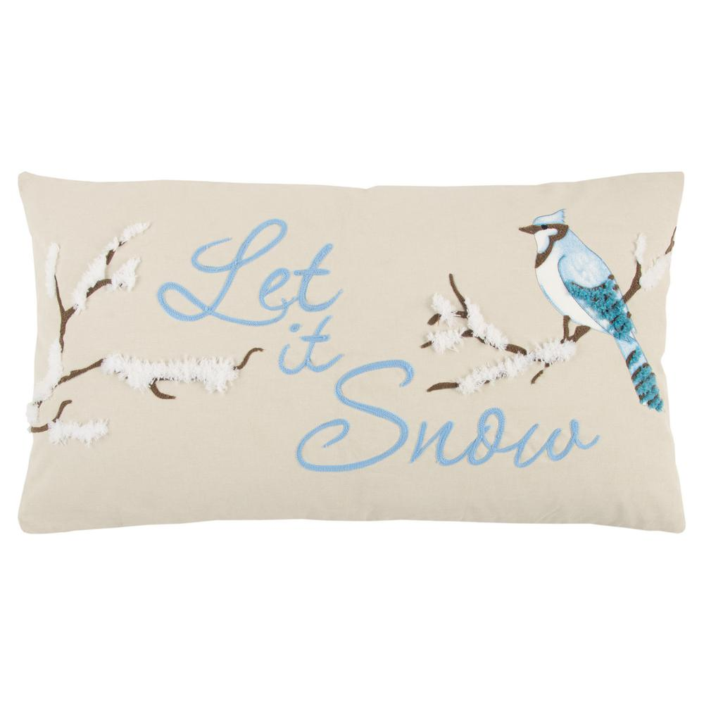 Rizzy Home Decorative Pillows : Rizzy Home Christmas Let it Snow 14 in. x 26 in. Decorative Filled Pillow-PILT13601BE001426 ...