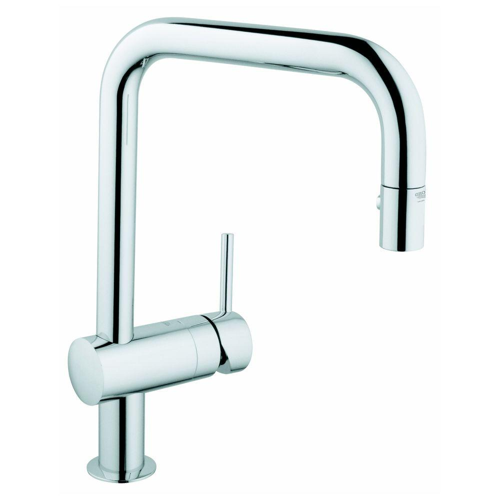 GROHE Minta Single-Handle Pull-Out Sprayer Kitchen Faucet in Starlight Chrome