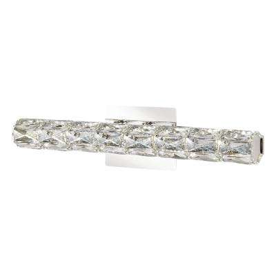 24 in. Chrome LED Vanity Light Bar with Clear Crystal