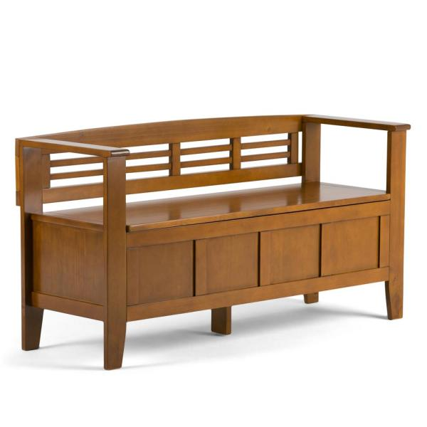 Simpli Home Adams Solid Wood 48 in. Wide Rustic Entryway Storage Bench in Light Avalon Brown