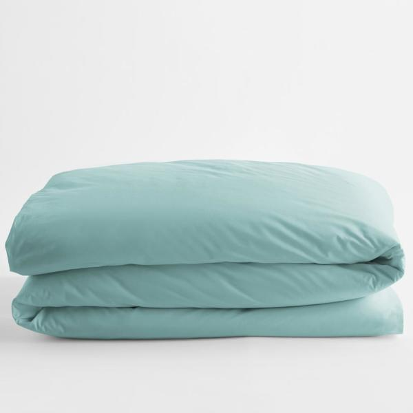 Organic Pale Blue Solid Cotton Percale King Duvet Cover