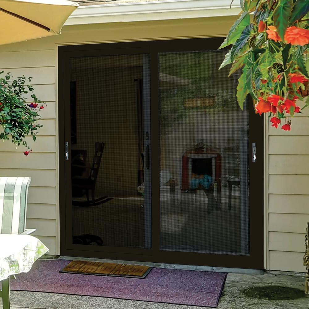 Unique Home Designs 72 In X 80 In Bronze Sliding Ultimate Security Patio Screen Door With Meshtec Screen 5v0000kl0bz00p The Home Depot