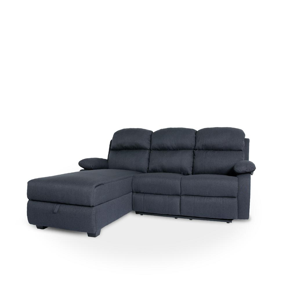 Ottomanson Recliner L-Shaped Navy Blue Corner Sectional Sofa ...