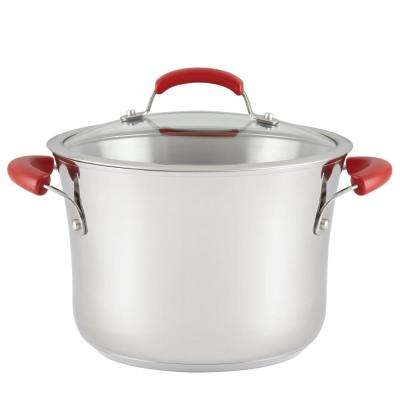 6.5 Qt. Stainless Steel Nonstick Covered Stockpot with Red Handles