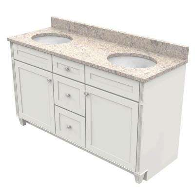 60 in. Vanity in Dove White with Natural Quartz Vanity Top in Shadow Swirl and White Double Basin