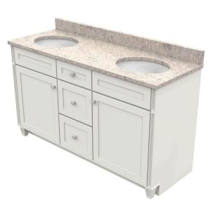 KraftMaid 60 inch Vanity in Dove White with Natural Quartz Vanity Top in Shadow Swirl and White Double Basin by KraftMaid