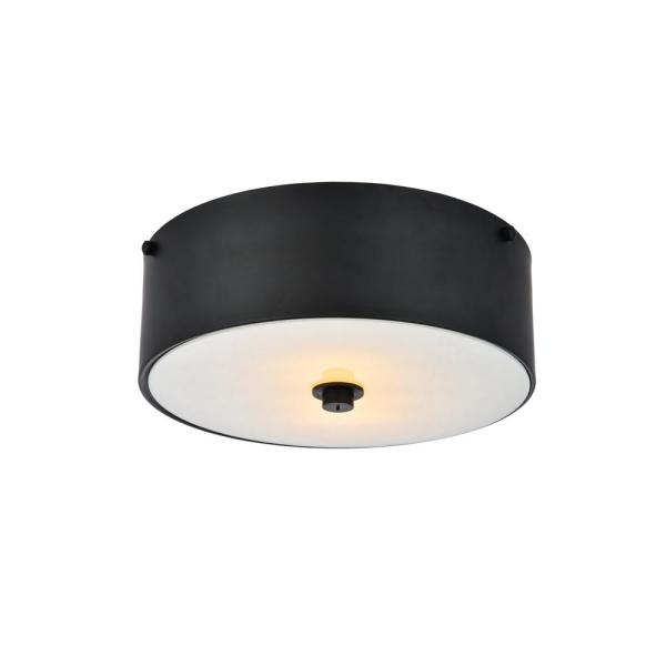 Timeless Home Harlan 12 in. W x 4.5 in. H 2-Light Flat Black and White Flush Mount