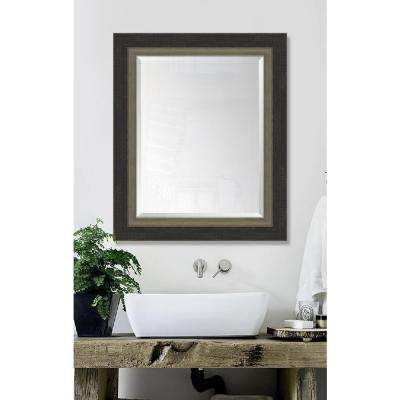 30 in. x 36 in. Framed Slate Black Large and Farmhouse Brown Mirror
