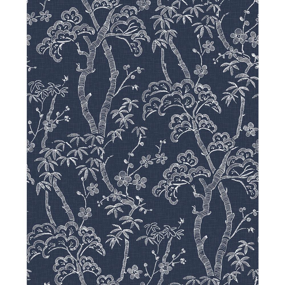 A-Street 56.4 sq. ft. Bonsai Navy Tree Wallpaper 2764-24350