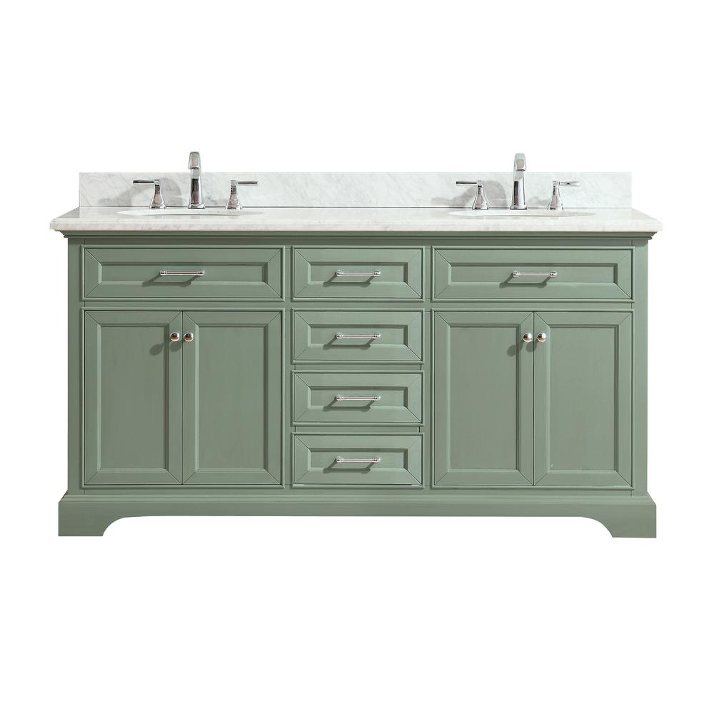 Azzuri Mercer 73 in. W x 22 in. D x 35 in. H Vanity in Sea Green ...