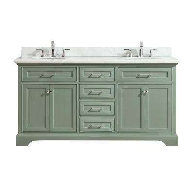 Mercer 73 in. W x 22 in. D x 35 in. H Vanity in Sea Green with Marble Vanity Top in Carrera White with White Basin