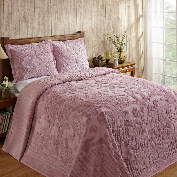 Ashton Collection in Medallion Design Pink King 100% Cotton Tufted Chenille Bedspread