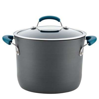 Hard-Anodized 8 Qt. 2-Piece Gray with Marine Blue Handles Aluminum Non-Stick Covered Stockpot