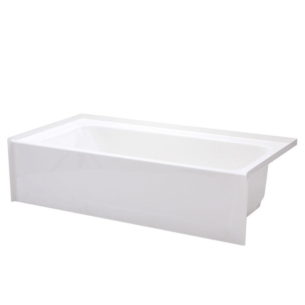 Composite 60 in. Right Drain Rectangular Alcove Soaking Bathtub in White