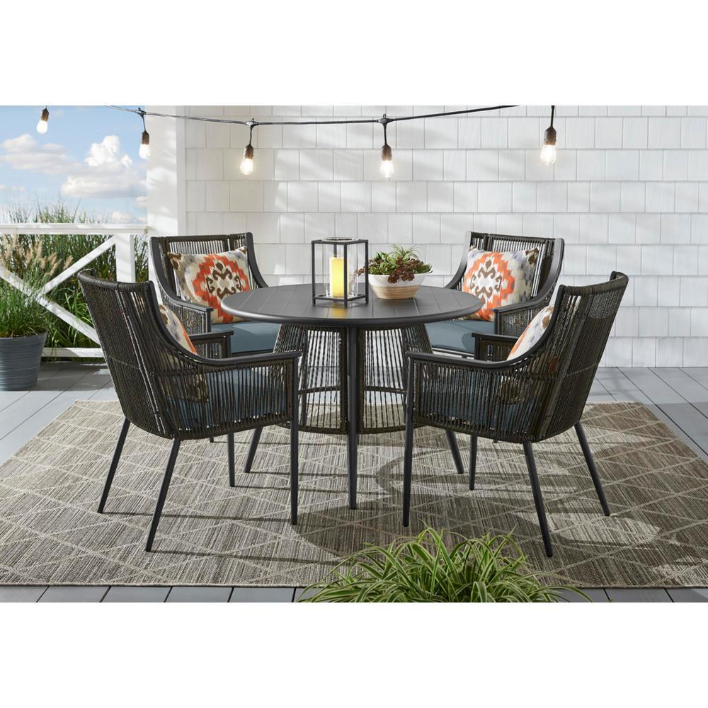 Bayhurst 5-Piece Black Wicker Outdoor Patio Dining Set with Sunbrella Denim Blue Cushions