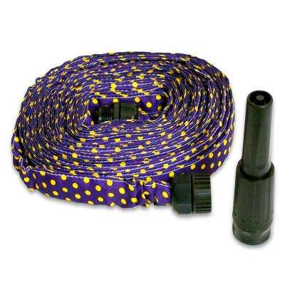2 in. Dia x 50 ft. HydroHose Designer Series with Adjustable Nozzle in Purple Polka Dot