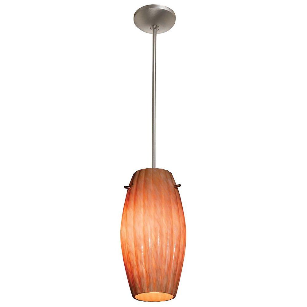 Access Lighting 1-Light Pendant Satin Finish Amber Marble Glass-DISCONTINUED