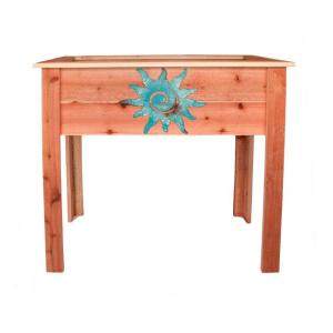 Hollis Wood Products 36 inch Redwood Raised Planter with Patina Sun Design by Hollis Wood Products