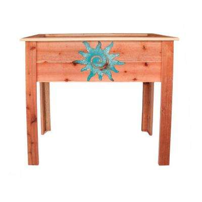 36 in. Redwood Raised Planter with Patina Sun Design