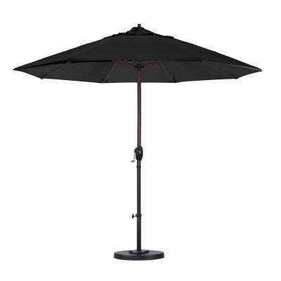 9 ft. Aluminum Auto Tilt Patio Umbrella in Black Olefin