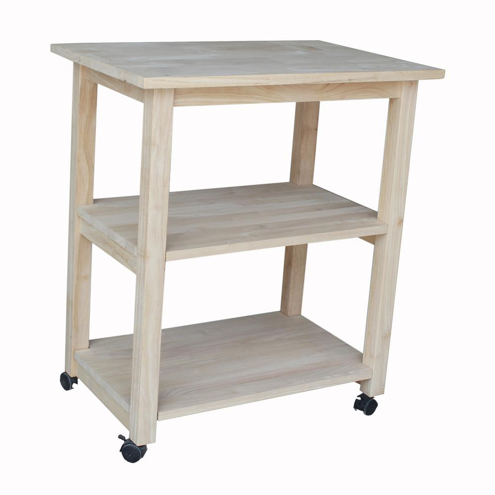 International Concepts Unfinished Kitchen Cart With Shelf