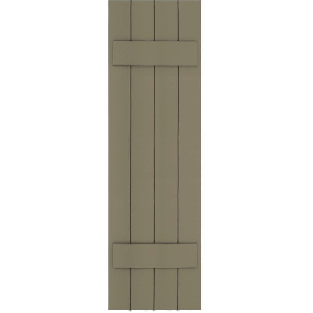 Winworks Wood Composite 15 in. x 52 in. Board & Batten Shutters Pair #660 Weathered Shingle