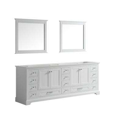 Dukes 84 in. Double Bath Vanity Cabinet Only with Mirror in White