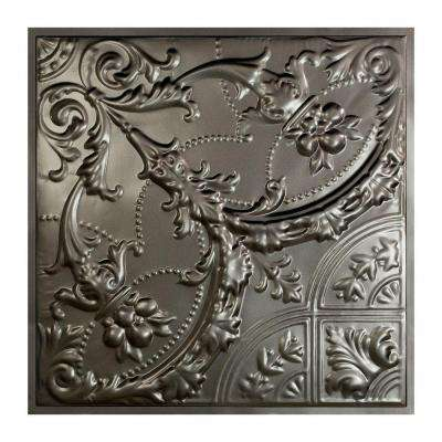 Saginaw 2 ft. x 2 ft. Lay-in Tin Ceiling Tile in Argento