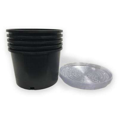 5 Gal. Heavy-Duty Round Nursery Trade Pot with Saucer (4.2 Gal./18 l/0.56 cu. ft.) (5-Pack)