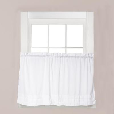Holden White Polyester Rod Pocket Tier Curtain - 57 in. W x 30 in. L