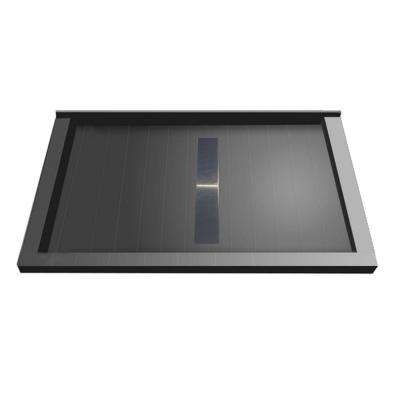 36 in. x 60 in. Triple Threshold Shower Base with Center Drain and Solid Brushed Nickel Trench Grate