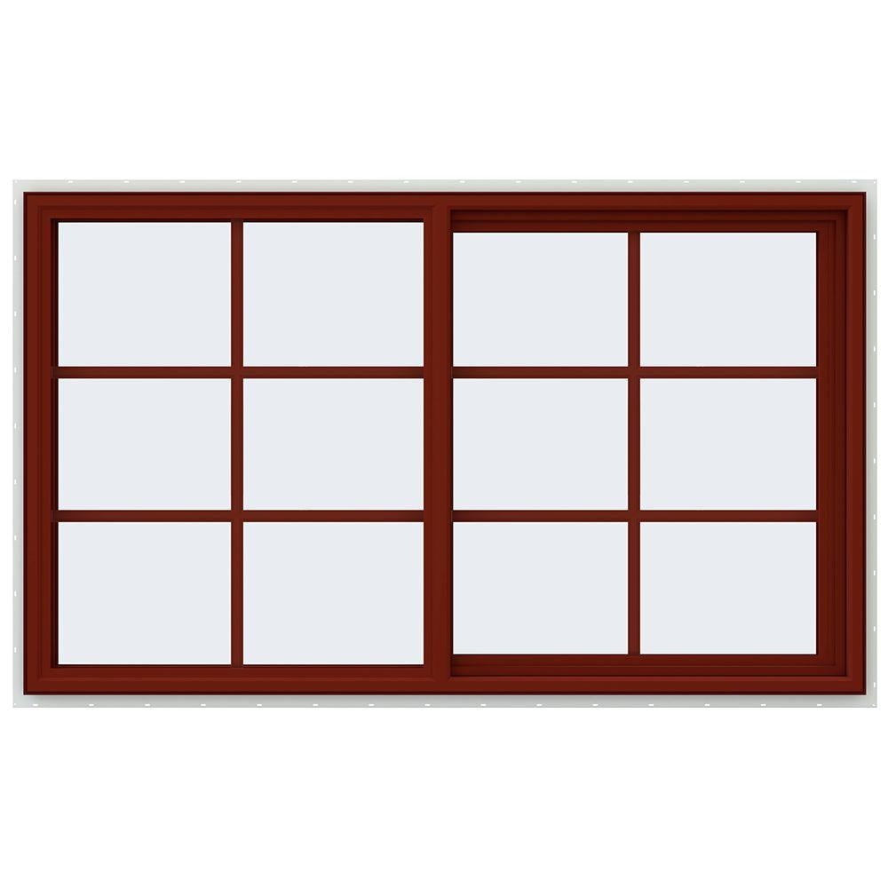 JELD-WEN 59.5 in. x 35.5 in. V-4500 Series Right-Hand Sliding Vinyl Window with Grids - Red