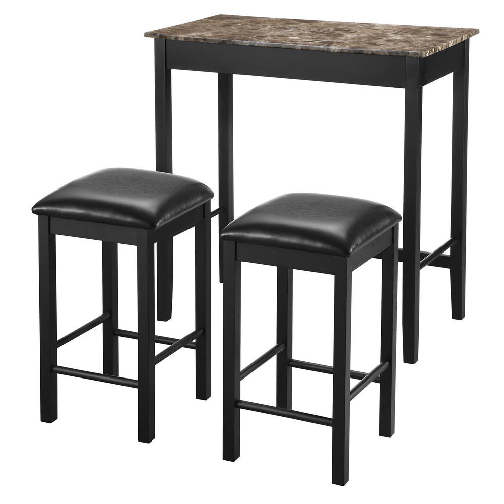Dorel Living Isadora 3 Piece Black Faux Marble Pub Dining Set