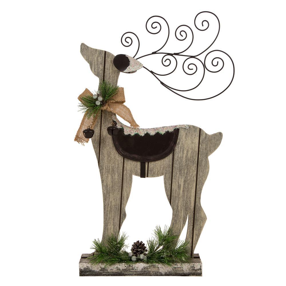22.05 in. H Wooden/Iron Reindeer Figurine