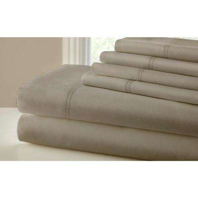 Double Faggoting Hem Taupe 1000-Count King Sheet Set (6-Piece)