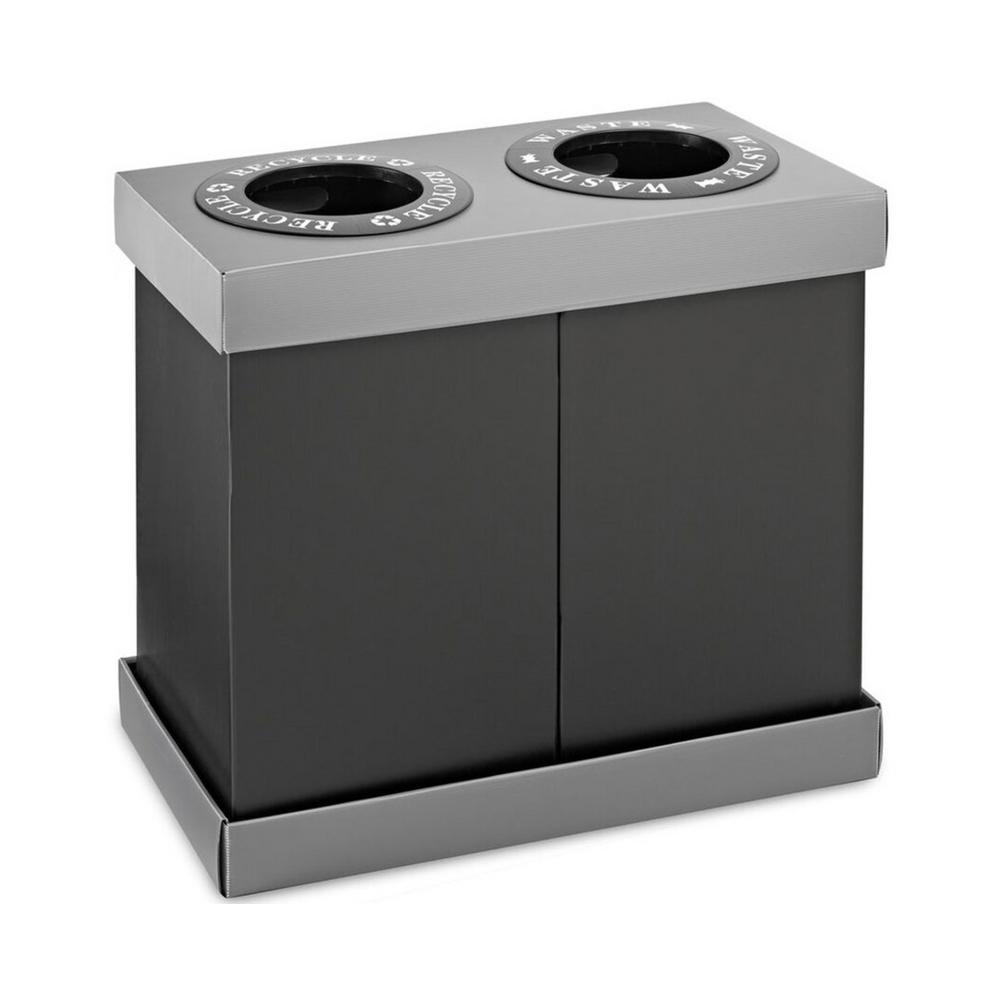 28 Gal. Black Plastic 2-Compartment Indoor Trash Can and Recycling Bin