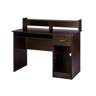 Essential Espresso Computer Desk with Pull-Out Keyboard Tray and Hutch