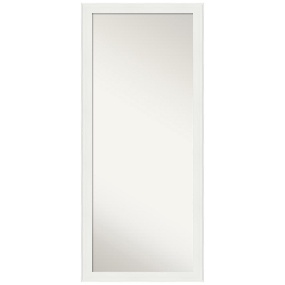 Medium Rectangle Matte White Casual Mirror (23.38 in. H x 53.38 in. W)
